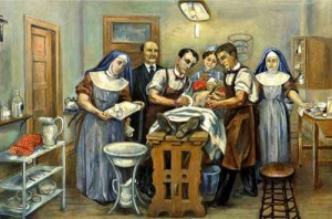 Art depicts Edith Graham Mayo providing anesthesia support for the Mayo brothers.