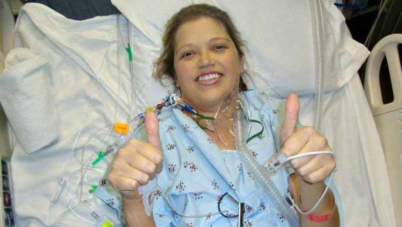 Courtney Kidd in her hospital room after transplant surgery.