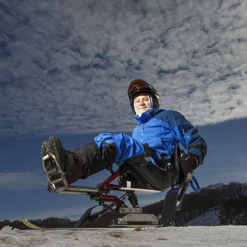 Ty Wiberg loves outdoor activities, such as mono-skiing.