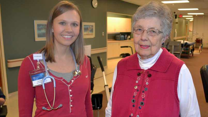 Ardis Kyker with her cardiac rehabilitation therapist, Whitney Quast.