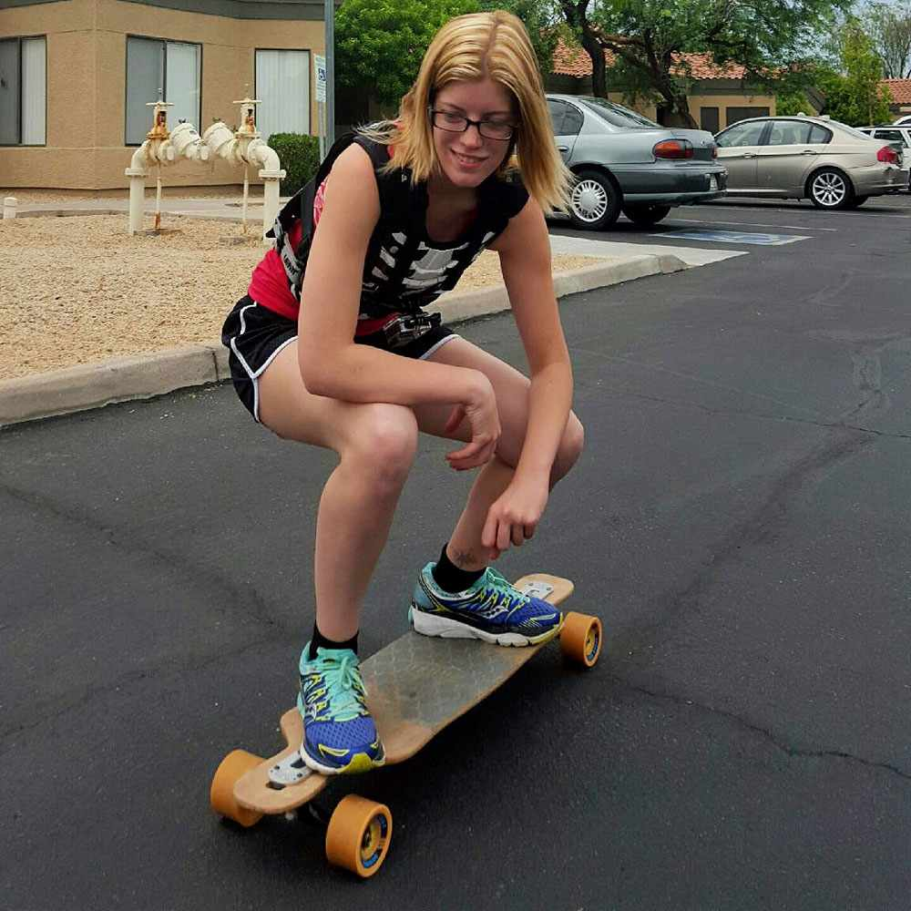Rebecca Uhl back in action on her skateboard.