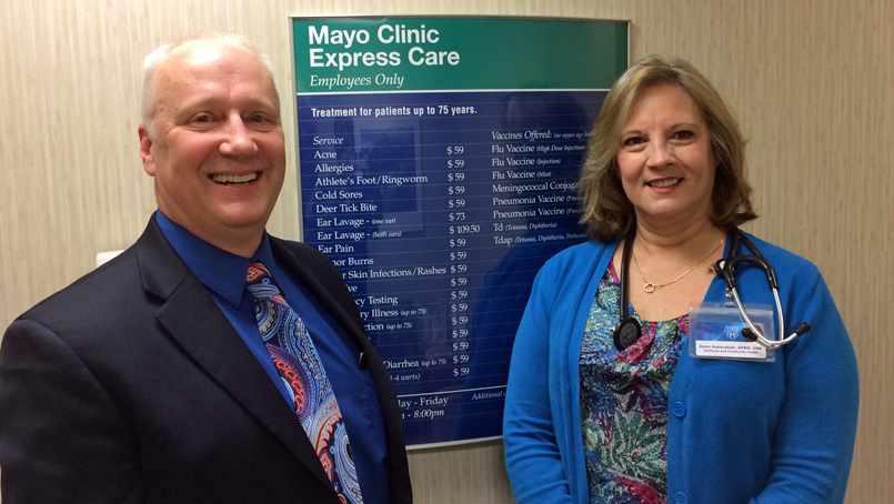 Ron Petrovich with Nurse Practitioner Dawn Kaderabek.