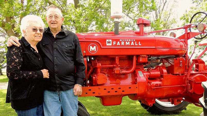 Gene Franke is back on his feet after farm accident.