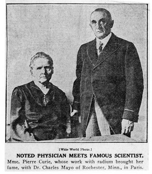 Flashback: 1920 — Marie Curie and Mayo Clinic | Sharing Mayo Clinic
