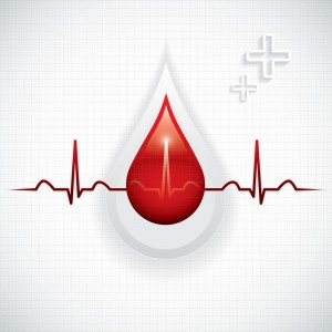 illustration of blood droplet and heart monitor