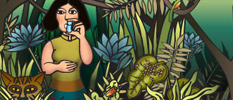 illustration of person in jungle with inhaler