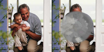 Clear visual image of man holding child on left, blurred vision image on right
