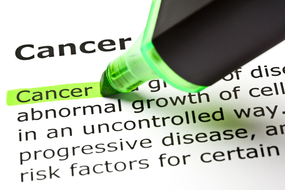 Cancer words and definition on white paper highlighted with bright green marker