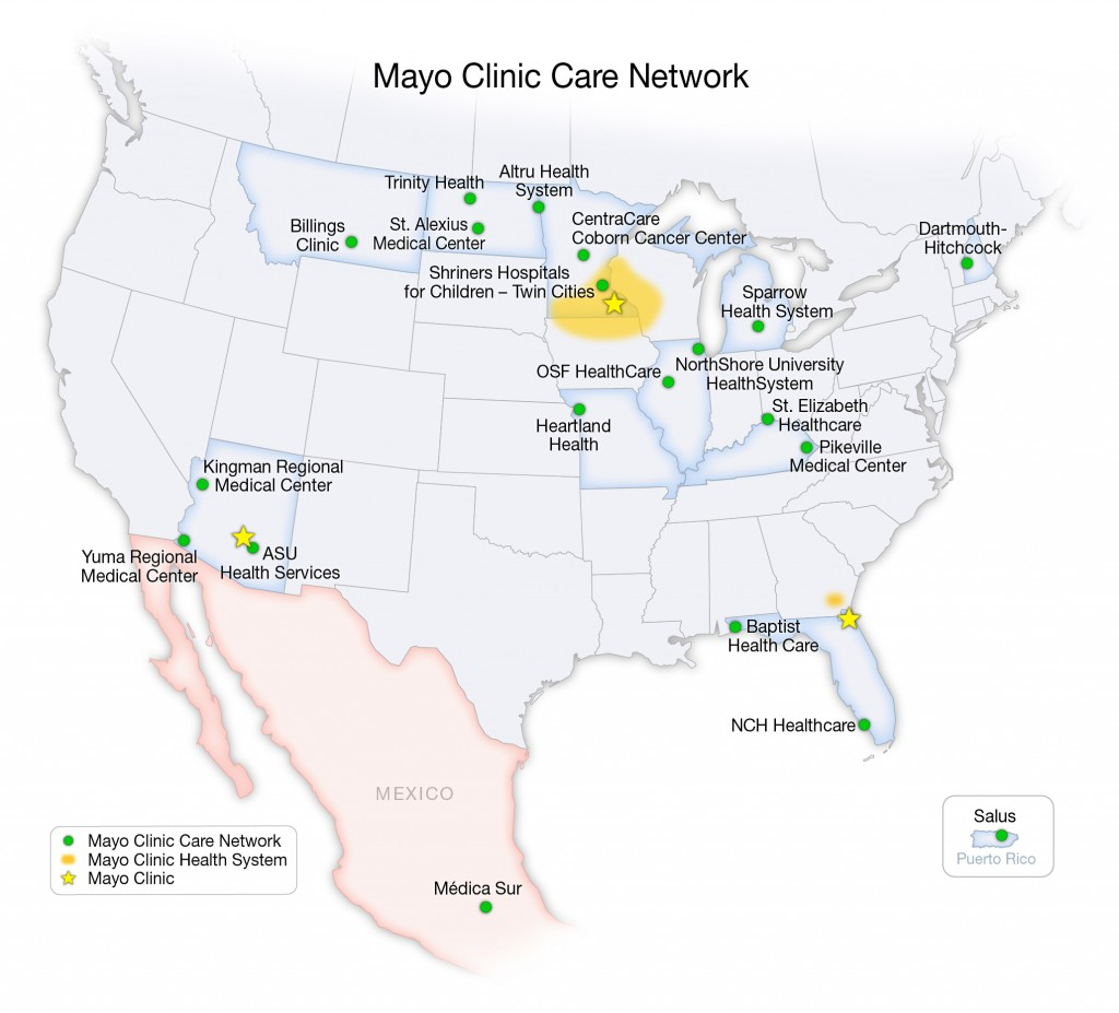 Graphic - United States map of Mayo Clinic Care Network hospital members