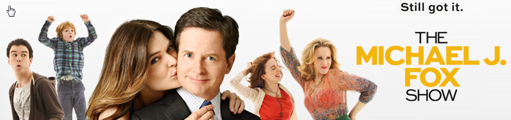 Promo graphic for new Michael J Fox TV show with other actors pictured with him