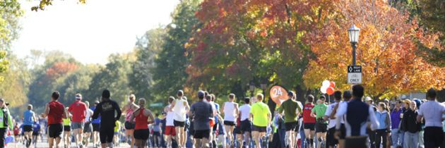 Dozens of runners in a marathon with autumn colored trees in the background