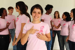 women wearing breast cancer awareness shirts