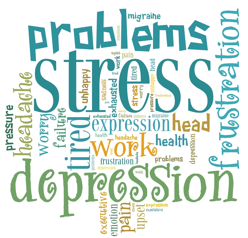 Word cloud graphic with the words stress, problems frustration standing out