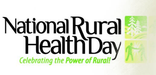 National Rural Health Day graphic with drawn images of people standing in the outdoors