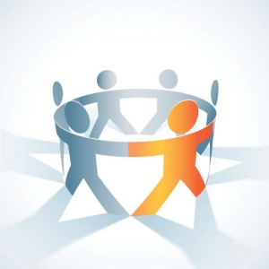 group in circle holding hands