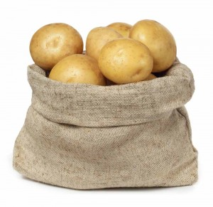 burlap sack of white potatoes