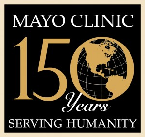 Mayo Clinic - 150 years serving humanity, image of globe