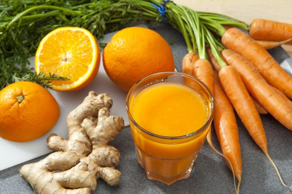 Fruits, Vegetables and Orange Juice Glass