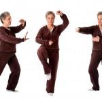 Senior woman doing tai chi exercises
