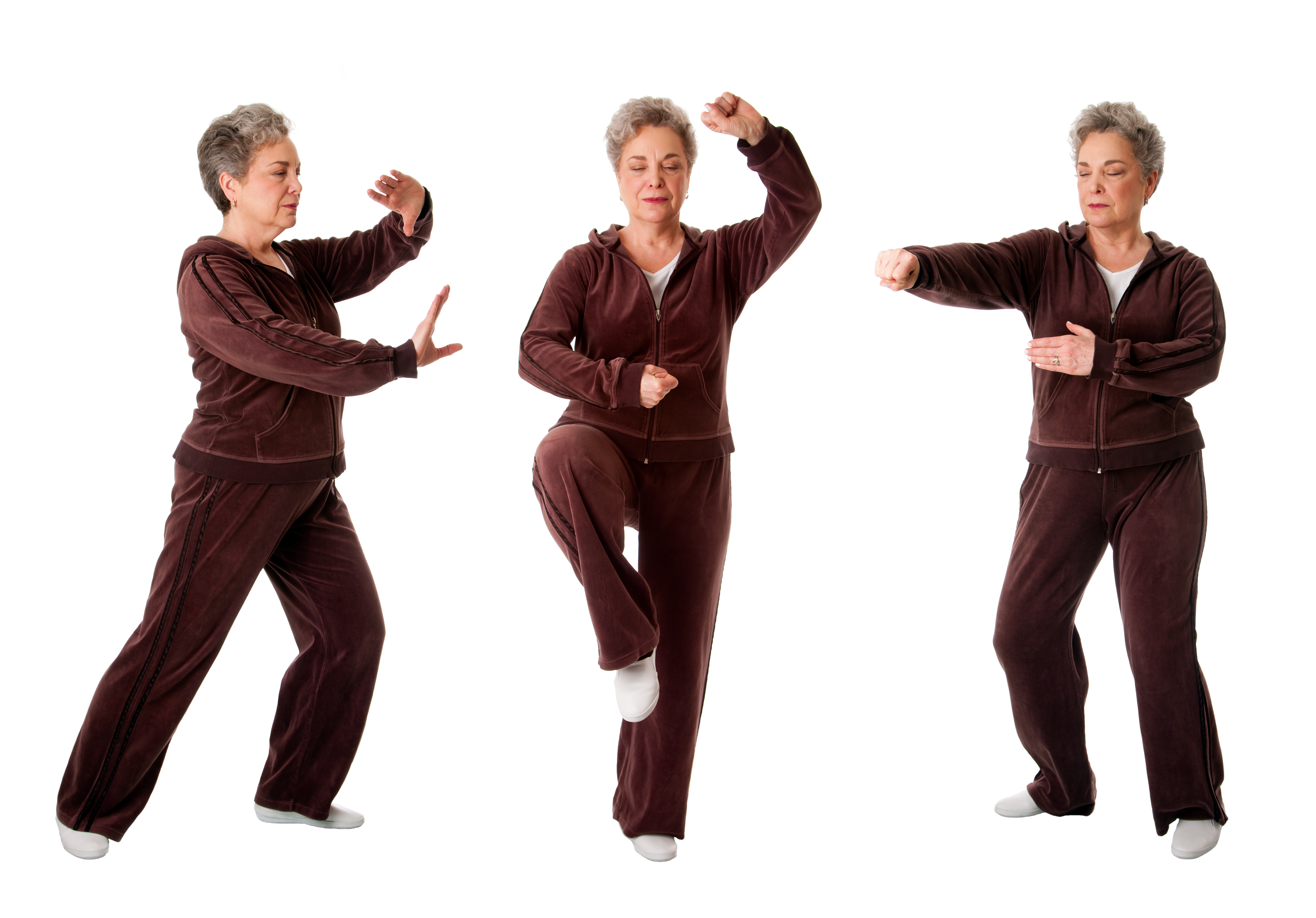 Senior woman doing tai chi exercises