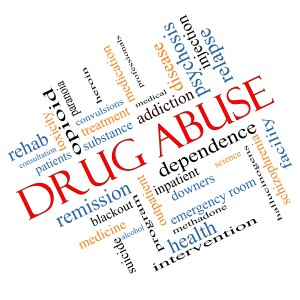 Image of a wordle: Word Cloud Concept Angled with terms such as addiction, heroin, disease, relapse and Drug Abuse.