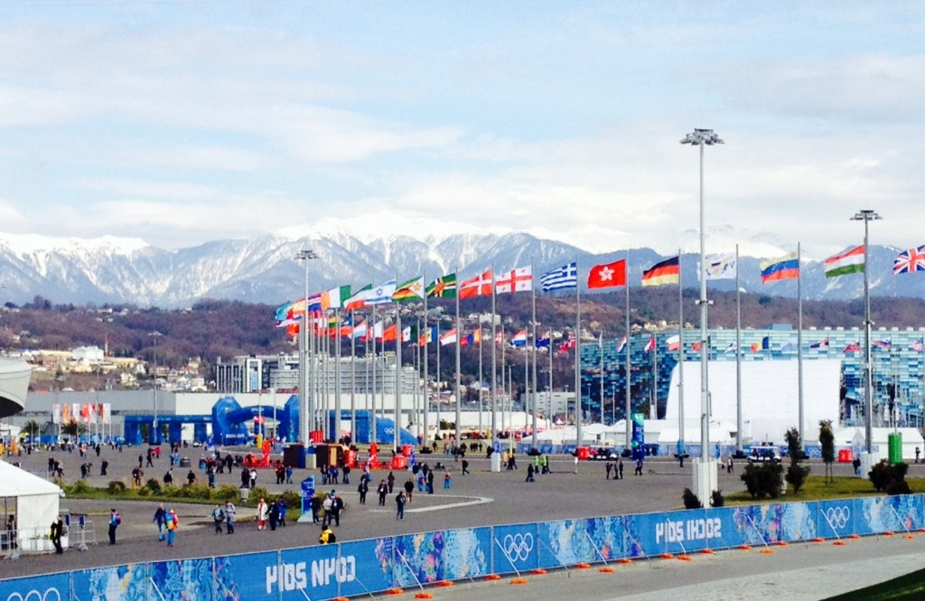 Sochi Olympic Village with flags