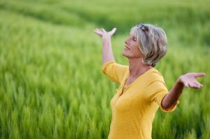 Mature Caucasian women exercising outside