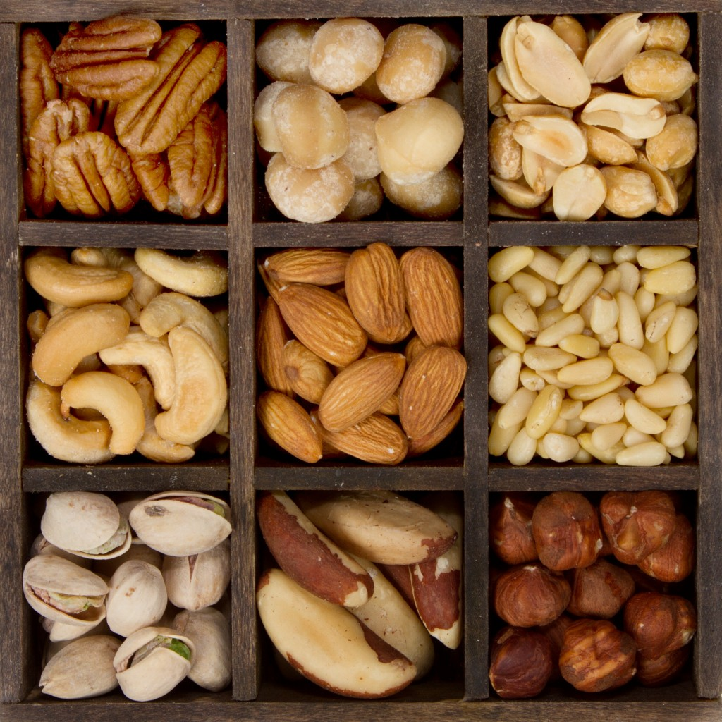 Assortment of nuts for healthy eating