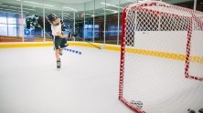 Youth hockey player tests hockey performance solution program.