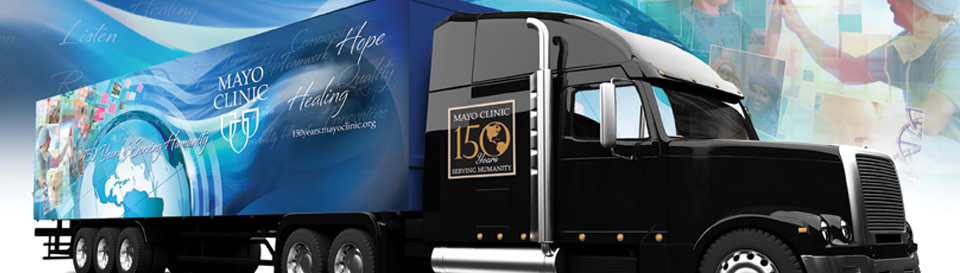 150th Mobile Exhibit banner with truck
