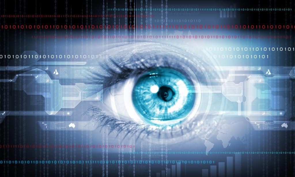 Close-up high-tech image of human eye. Technology concept