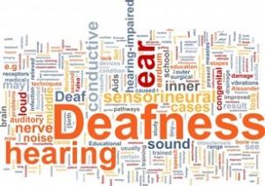 Nube de palabras que dice pérdida auditiva y sordera
