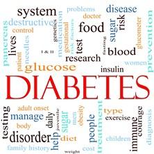 Nube de palabras que dice diabetes