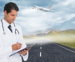 Doctor writing on clipboard with airplane flying overhead