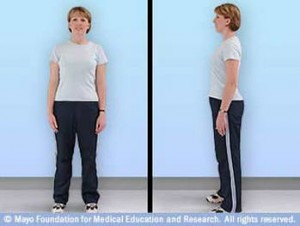 Woman demonstrating straight back and good posture