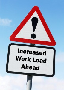 'increased work load' sign indicating job stress and burnout