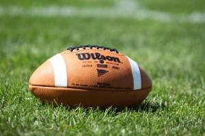 football on grassy field