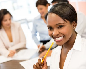 African American woman in professional business setting