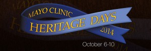 "Blue ribbon with the words ""Mayo Clinic Heritage Days 2014"""