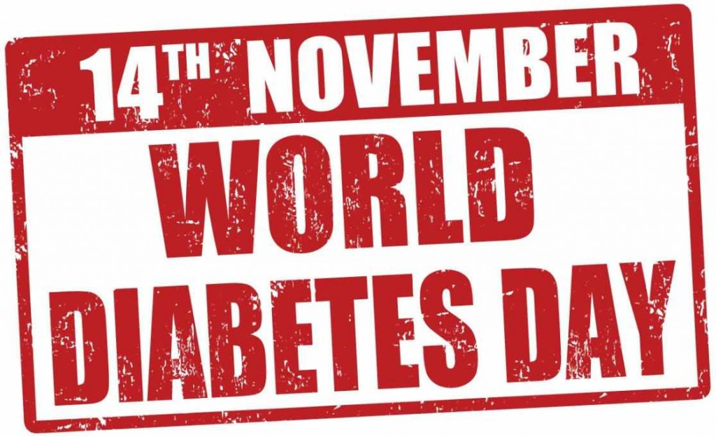 illustrated sign in red letter saying world diabetes day