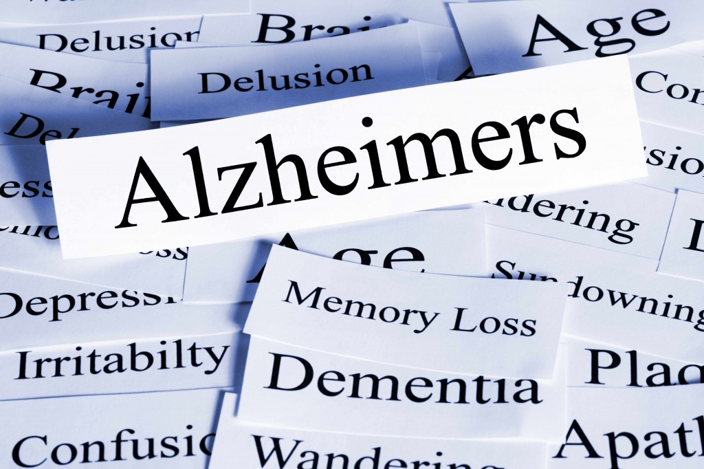 word cloud with Alzheimer's, memory loss, dementia, delusion
