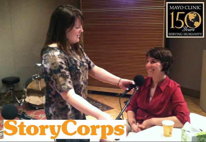 Shanna Decker being interviewed by StoryCorps