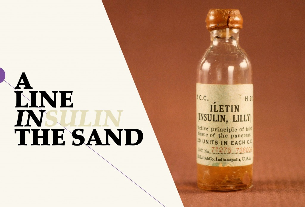'Line in the sand' graphic for insulin bottle