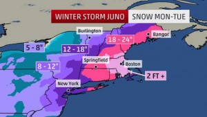 winter storm map from the Weather Channel