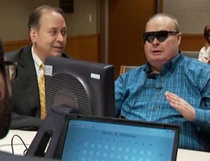 patient with 'bionic second sight' eye glasses, with Dr. iezzi