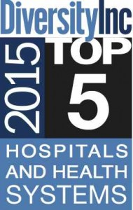 Blue, Black and White Logo that says: DiversityInc 2015 Top 5 Hospitals and Health Systems
