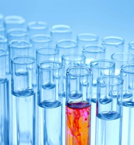 laboratory with medical viles, test tubes