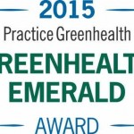 Logo with two leaves and it says 2015 Practice Greenhealth Emerald Award