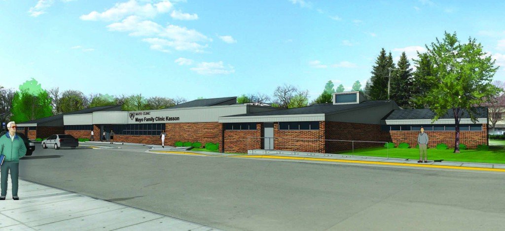 Artist sketch of outside at Mayo Family Clinic Kasson post-construction.