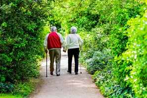 two senior citizens, elderly couple walking down a road or path